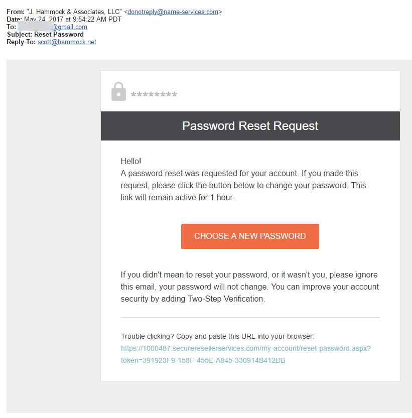 Password Reset Email Screenshot